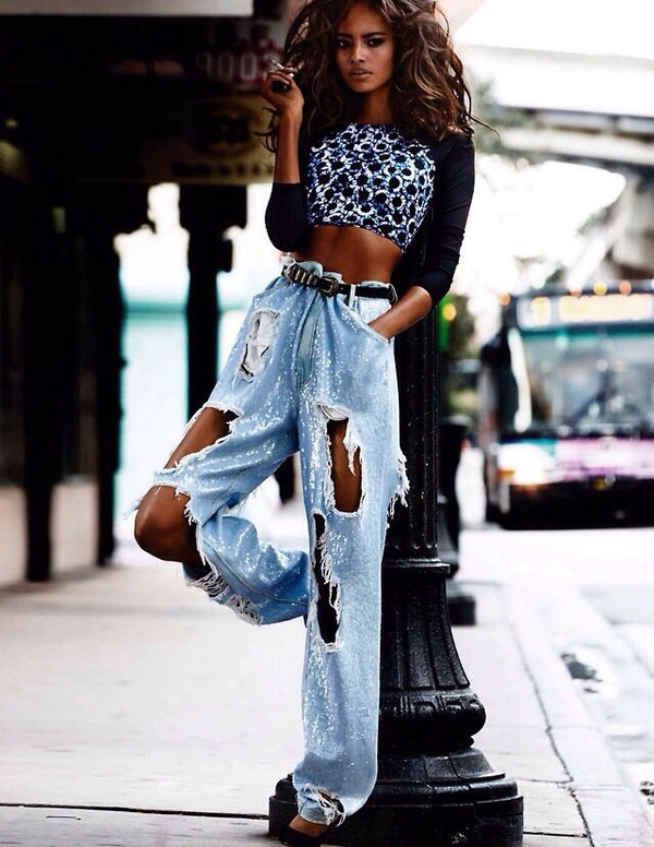 jeans vogue paris style ripped jeans blue jeans high waisted jeans white washed denim torn ripped i need!!! embellished denim embellished top printed top crop tops long sleeves belt black belt