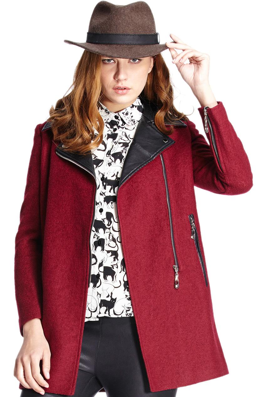 ROMWE | Romwe Panel Faux Leather Claret-red Woolen Coat, The Latest Street Fashion
