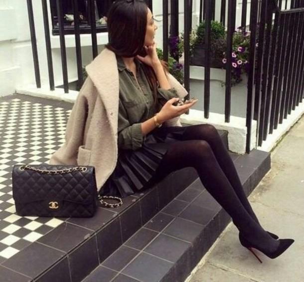 skirt blouse heels
