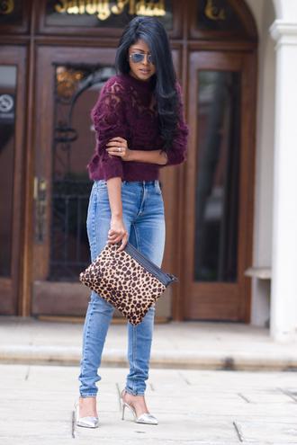 walk in wonderland t-shirt jeans shoes bag leopard print burgundy burgundy sweater cute sweater