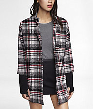 PLAID RIBBED KNIT SLEEVE COCOON COAT | Express