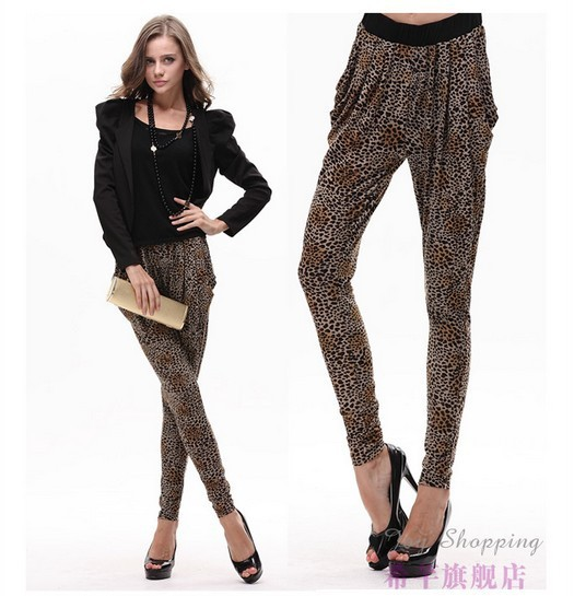 New 2014 summer and autumn plus big szie pants trouser thin 9 ice silk Haren pants many colors dot leopard star-in Pants & Capris from Apparel & Accessories on Aliexpress.com
