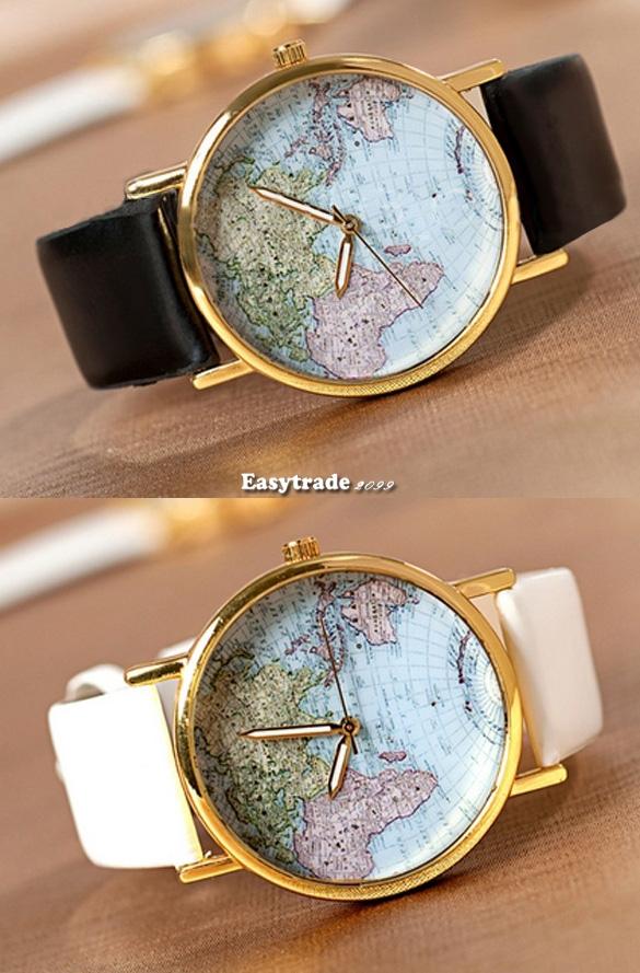 New Fashion World Map Globe Leather Alloy Womens Vintage Analog Quartz Watches   eBay