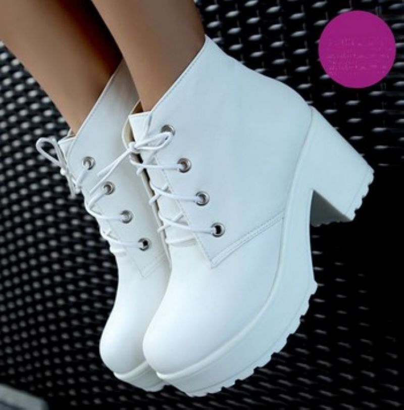 New Fashion Black&White Punk Rock Lace Up Platform Heels  Ankle Boots thick heel platform shoes-in Boots from Shoes on Aliexpress.com