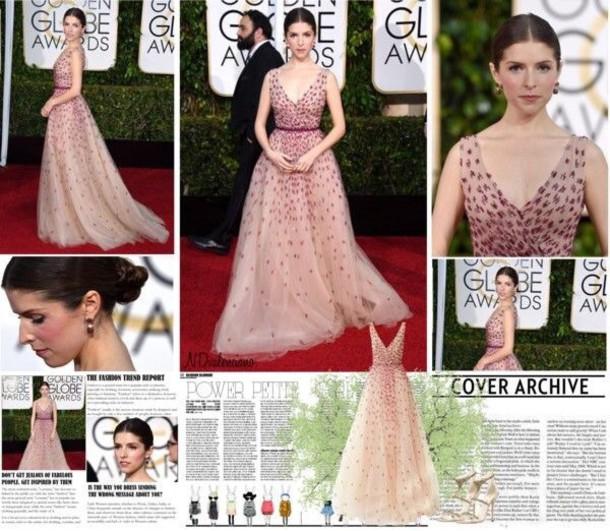anna kendrick pink dress Golden Globes 2015 prom dress prom gown ball gown dress dress