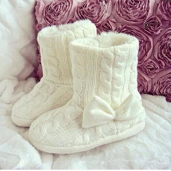 shoes white boots bow winter boots