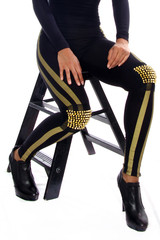 Spiked Gold Knee Leggings – EyeIVFashion