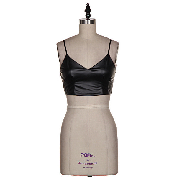 shirt just vogue crop top black faux leather bustier madonna straps makeup table vanity row dress to kill