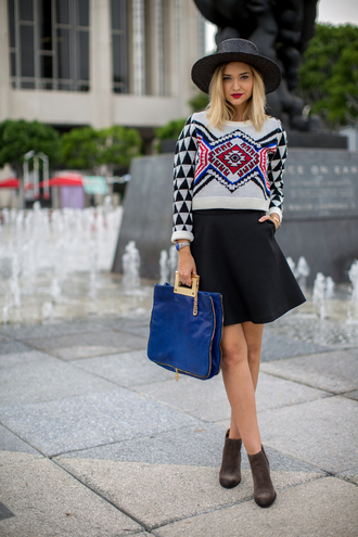 late afternoon blogger sweater skirt shoes hat bag jewels