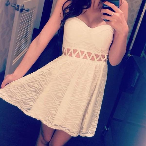 dress geometric crop tops bustier white dress flowy cute