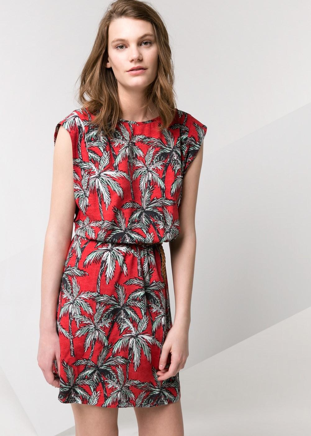Robe à imprimé palmiers -    Femme - MANGO