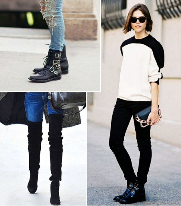 shoes boots booties ankle boots over the knee boots suede leather casual funny punky motorcycle punk edgy trendy jeans skinny jeans buckles patent high heels flats chunky heels stilettos modern shoes black heels