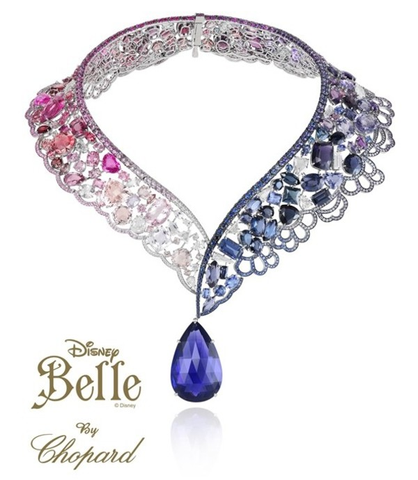 jewels blue pink collar necklace