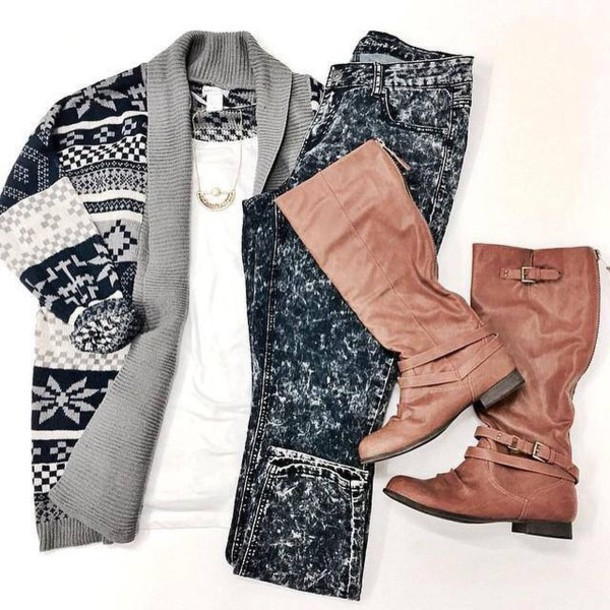 cardigan black and whie winter outfits grey
