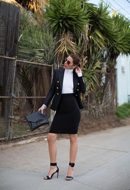 blogger sandals bodycon skirt black skirt crocodile pouch blazer office outfits