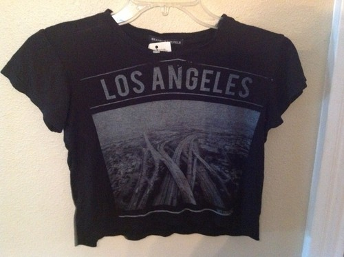 Brandy Melville Los Angeles Crop Top New Black Shirt Blouse | eBay