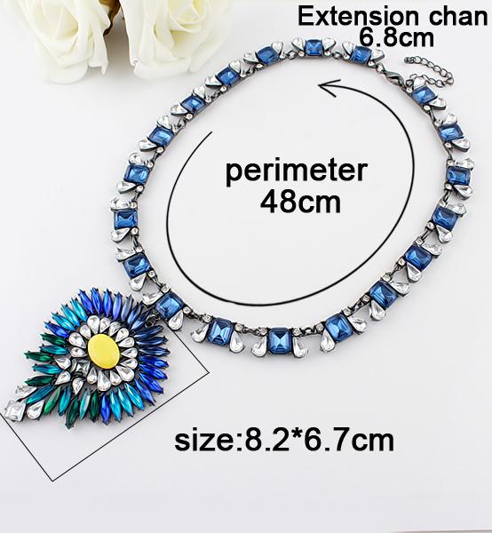Blue Gemstone Retro Silver Diamond Necklace - Sheinside.com