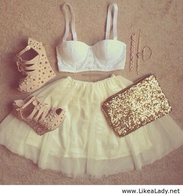 skirt high heels crop tops clutch shoes shirt bag