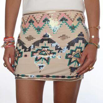 skirt pailette aztec print short mini fashion