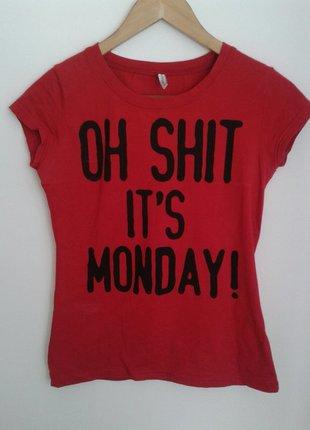 T-shirt z wymownym napisem 'oh shit, it's Monday!' New Yorker S - vinted.pl