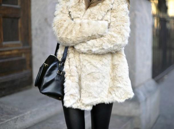 jacket fur coat white coat cream coat luxury