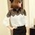 Women Casual Lace Chiffon Splicing Long Sleeve Elegant Blouse - CA$7.76
