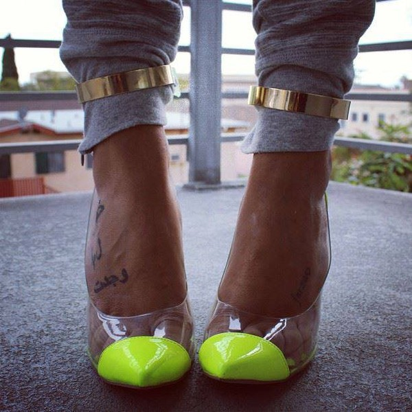 shoes shoes neon high heels summer high heels neon heels see through tattoo high heels flat heels clear heels neon yellow heels