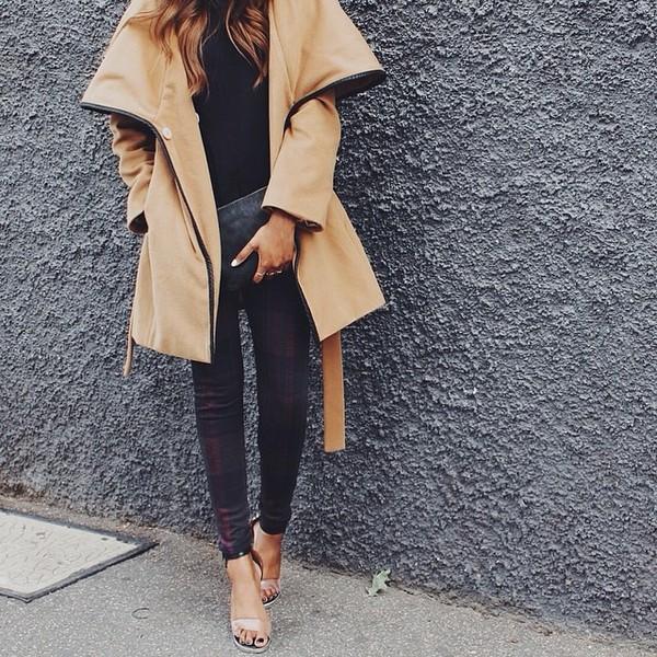 coat tan pea coat leggings caramel caramel coat alexa chung winter coat