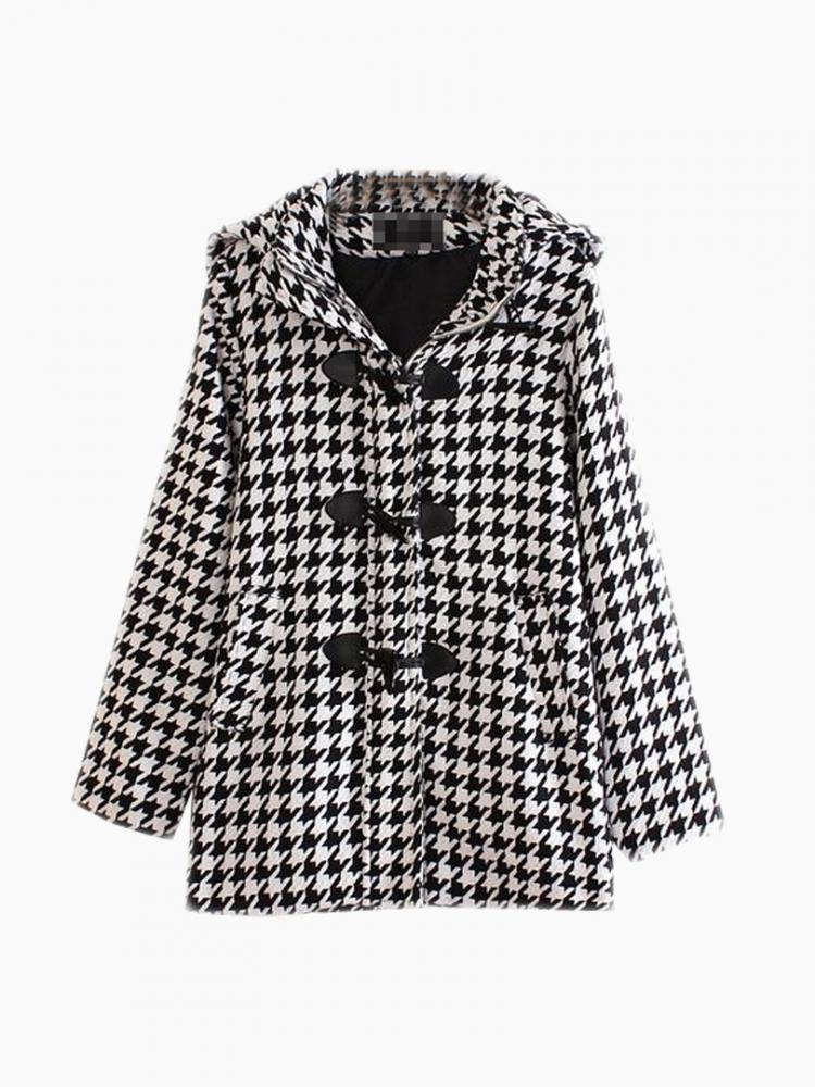 Vintage Houndstooth Duffle Coat | Choies