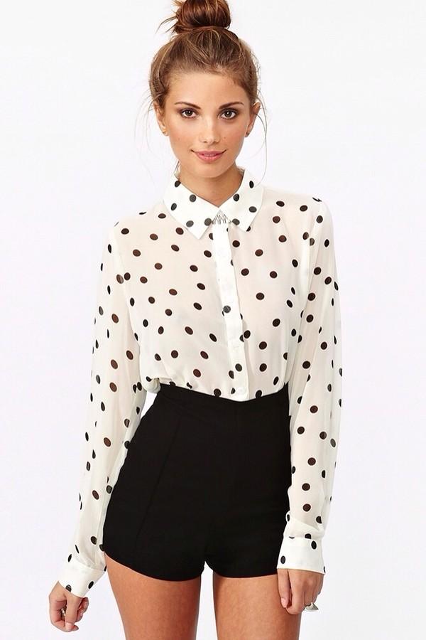 blouse black and white blouse polka dot blouse shorts black high waisted shorts pants