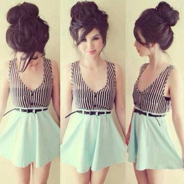 shirt skirt blue cute summer blue shirt
