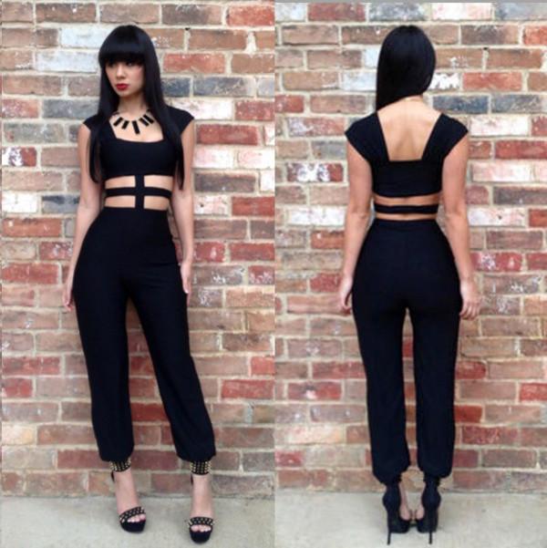 dress jumsuit cutout black romper clothes clothes womens accessories