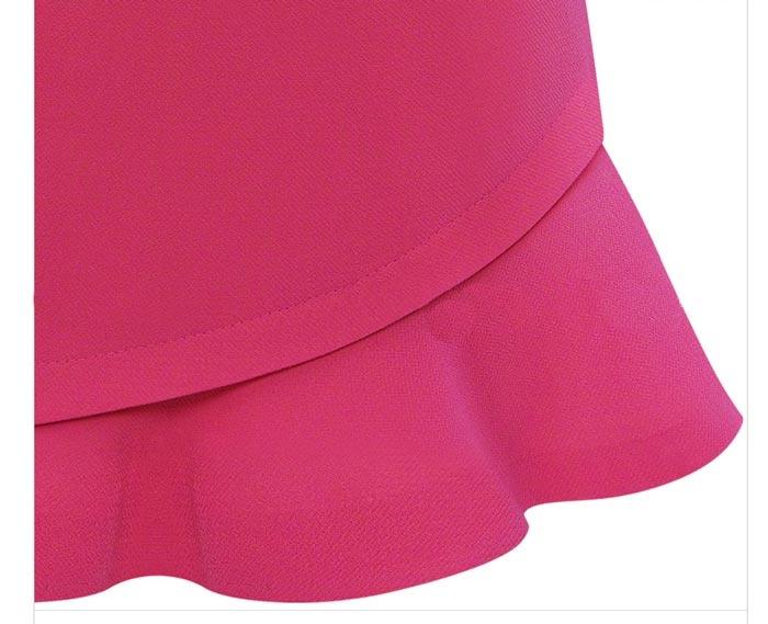 Slim Oblique Hem Skirt With a Belt in Rose [DLN0976] - PersunMall.com