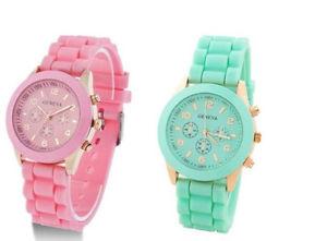 New Geneva Silicone Watch Fashion Three Diamond Ring Quartz Men Women Xmas Gift! | eBay