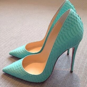 shoes high heels mint baby blu mermaid scales pumps louboutin turquoise