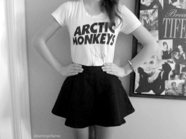 t-shirt white arctic monkeys band t-shirt black skirt skater skirt skirt