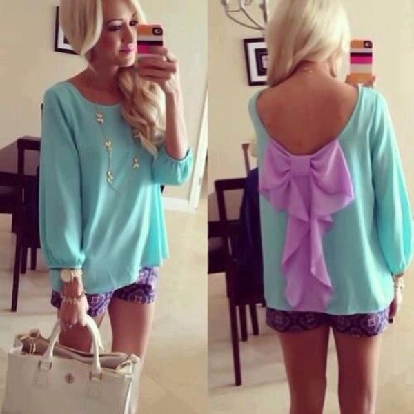 blouse bag mint blouse bow back blouse purple bow top with zig zag bottoms