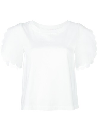 t-shirt shirt women scalloped white cotton top