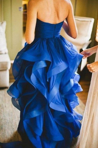 dress blue dress flowy dress wedding dress