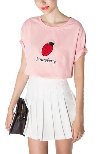 t-shirt sweet shirt roll-up strawberry cute shirt