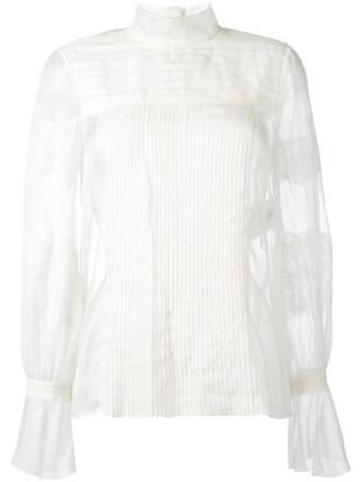 blouse top women lace nude silk