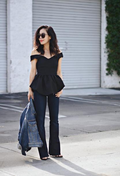 hallie daily blogger ruffle black top off the shoulder denim jacket