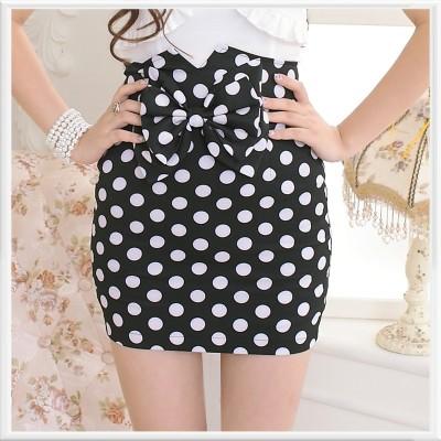 Buy Fashion Clothing -  Bow Polka Dots High Waist Slim Women's Skirt  - Skirts - Bottoms