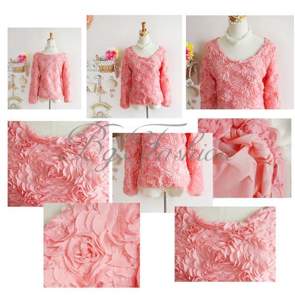 1 Femme 3D Floral Pull Over Sweater Blouses Dentelle Longue Lace Rose Mousseline | eBay