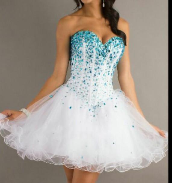 dress white dress blue sparkles cardigan