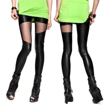 Amazon.com: Amour- Women Faux Leather Mesh Inset Ankle Length Footless Legging (One Size, Y138): Clothing