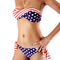 Stars and stripes us padded twisted bandeau tube bikini american flag swimsuit | ebay