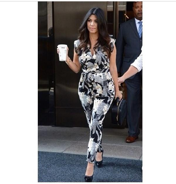 jumpsuit kourtney kardashian one piece floral print jumpsuit