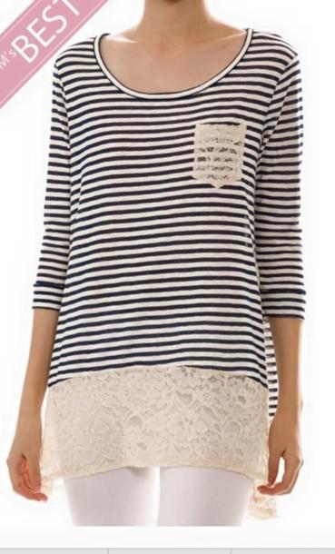 blouse stripes lace bottom lace top