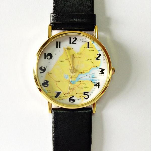 jewels map watch watch watch leather watch vintage style watch